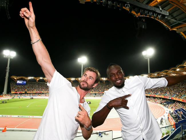 Usain Bolt and Chris Hemsworth on day eight of the 2018 Gold Coast Commonwealth Games