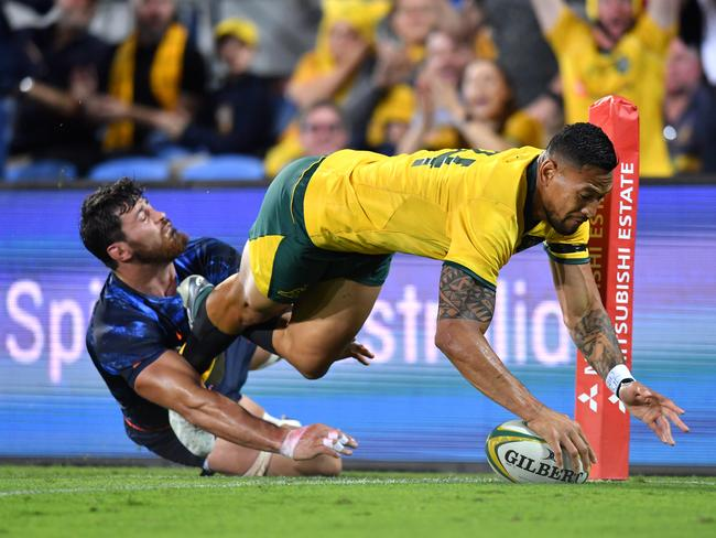 Israel Folau (R) scored one of the best tries of his career in the first half. Picture: AAP