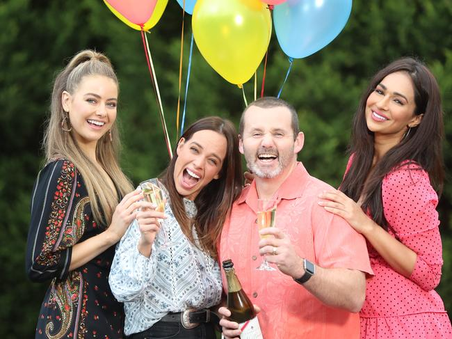 Neighbours cast members April Rose Pengilly, Bonnie Anderson, Ryan Moloney and Sharon Johal. Picture: Alex Coppel