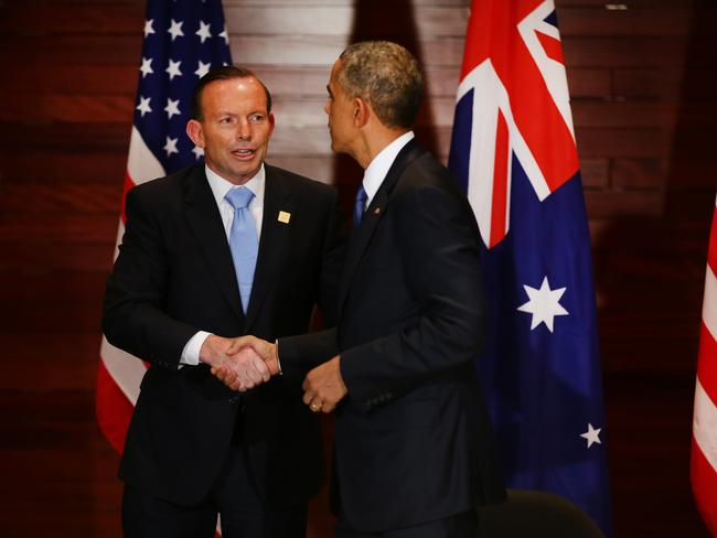 Catching up ... US President Barack Obama and Australian Prime Minister Tony Abbott had a lot to discuss. Picture: Cameron Richardson