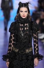 Kendall Jenner walks the runway for the Anna Sui collection during New York Fashion Week: The Shows at Gallery 1, Skylight Clarkson Sq on February 15, 2017 in New York City. Picture: Getty