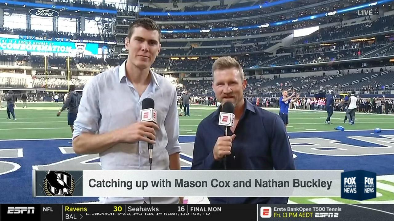 Collingwood duo Mason Cox and Nathan Buckley were interviewed ahead of an NFL game in Dallas.