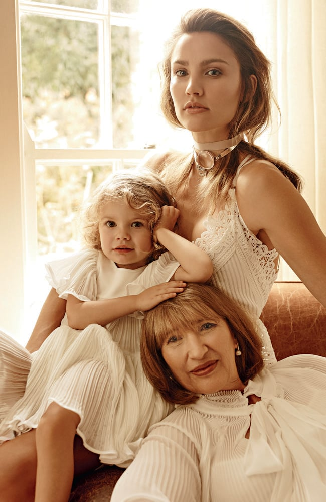 Rachael Finch, her daughter Violet and her mother Colleen. Photo: Georges Antoni.
