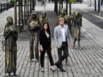 Prince Harry, Duke of Sussex and Meghan, Duchess of Sussex visit the Famine Memorial at Custom House Quay on the second day of their official two day royal visit to Ireland on July 11, 2018 in Dublin, Ireland. Picture: Charles McQuillan/Getty Images