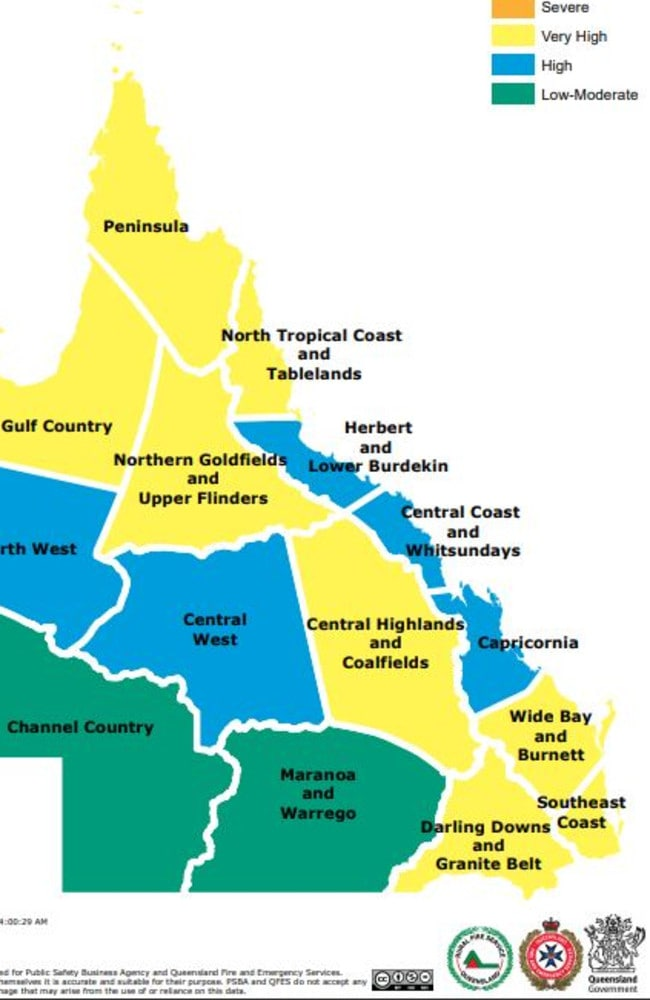 Fire danger rating for November 14, 2019 in Queensland. Picture: Rural Fire Service