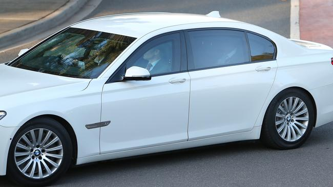 Prime Minister Scott Morrison drives back to Parliament House after visiting the Governor-General.