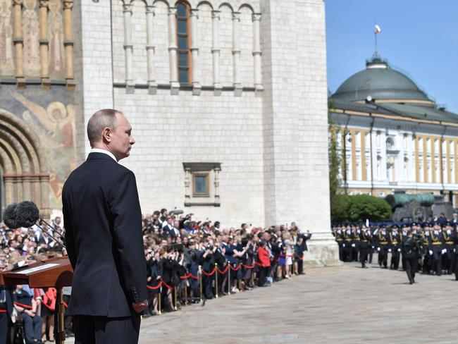 Russian President Vladimir Putin reviews the Kremlin's honour guards following his inauguration ceremony. Picture: AFP/Sputnick/Alexey Nikolsky