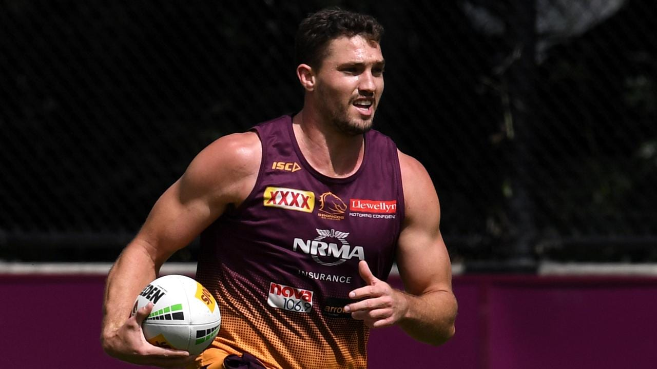Brisbane Broncos player Corey Oates is seen during training in Brisbane.