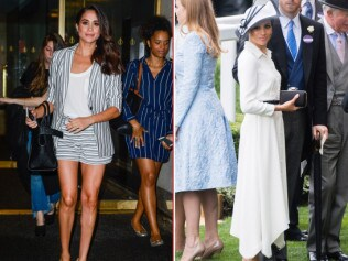 Meghan wore it short and sassy in 2016 (left) but has opted for more demure outfits since marrying Harry. Image: Getty