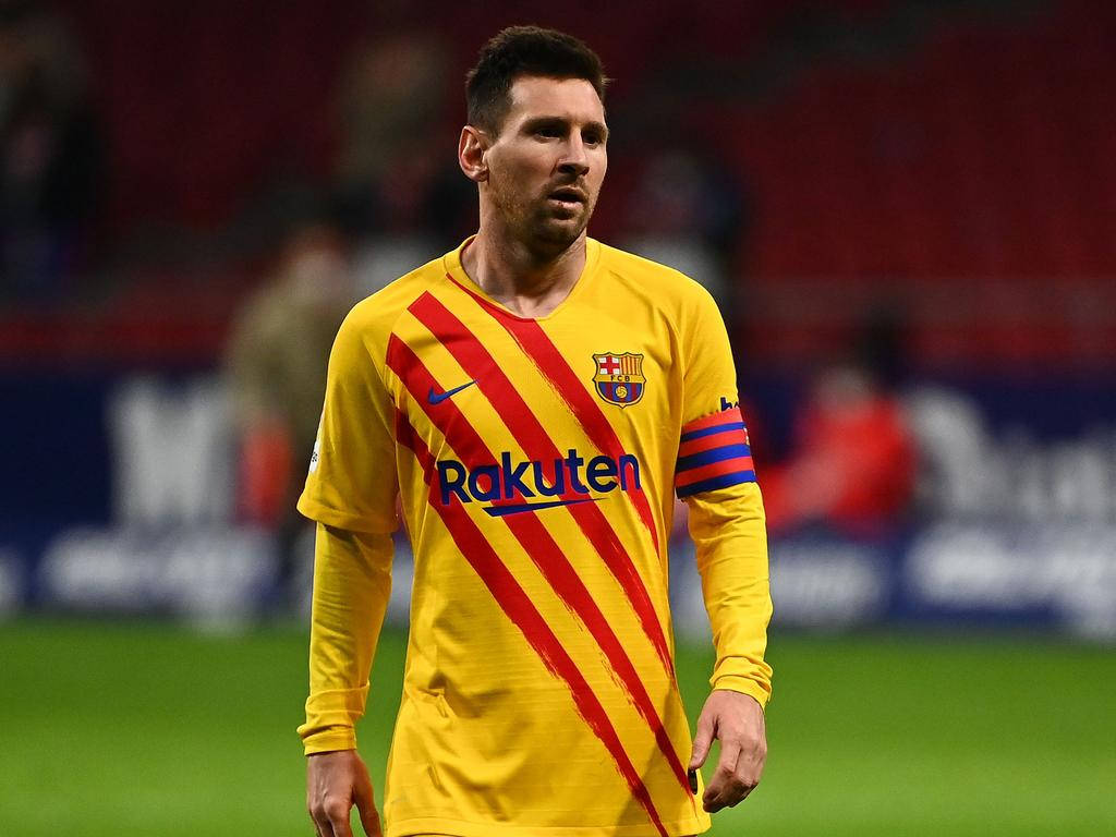 Barcelona's Argentinian forward Lionel Messi reacts at the end of the Spanish League football match between Club Atletico de Madrid and FC Barcelona at the Wanda Metropolitano stadium in Madrid on November 21, 2020. (Photo by GABRIEL BOUYS / AFP)