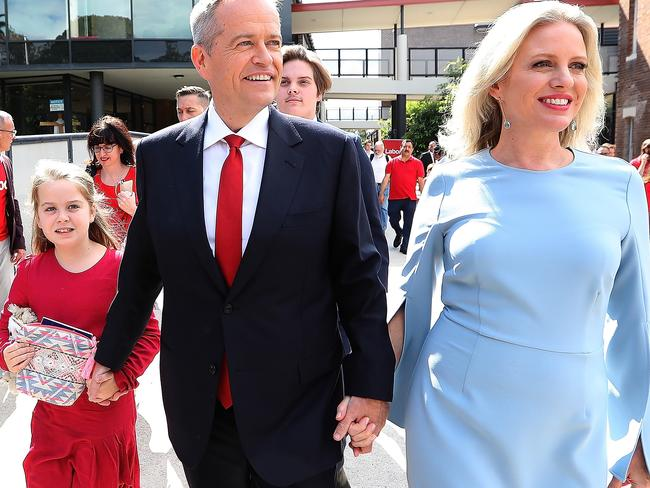 Bill Shorten with wife Chloe and daughter Clementine on day four of the campaign, leaving a volunteers rally in the electorate of Reid in Sydney's inner west. Picture: Kym Smith