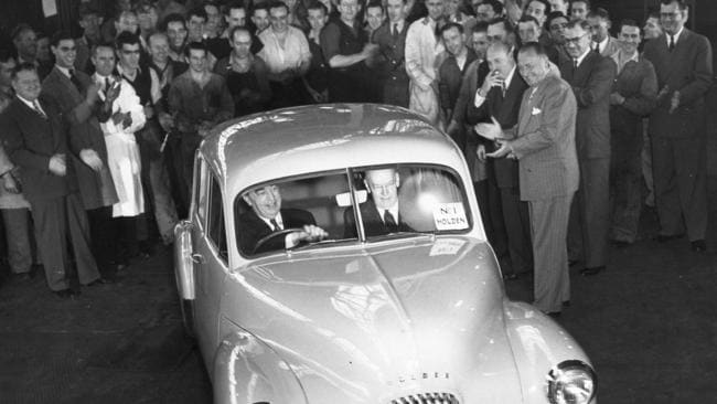 The first Holden comes off the assembly line at Port Melbourne in November 1948. Picture: Supplied.
