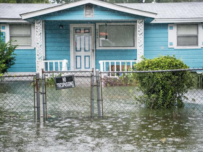 Floodwater accumulates in the front yard of a home in Georgetown, South Carolina. Picture: AFP/Getty Images