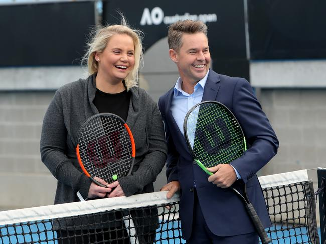 Jelena Dokic and Todd Woodbridge at the launch of the 2019 Channel 9 Australian Open coverage.