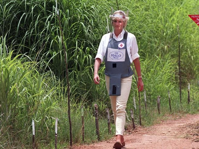 Princess Diana also worked with the Halo Trust in 1997 to campaign for a global ban on landmines. Picture: John Stillwell/PA via AP, File.