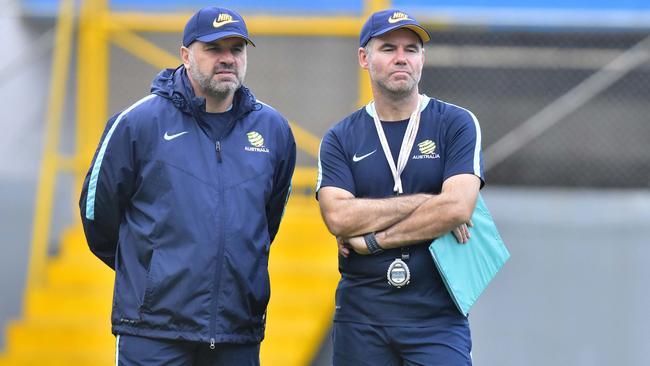 Australia head coach, Ange Postecoglou (L) and his assistant Ante Milicic.