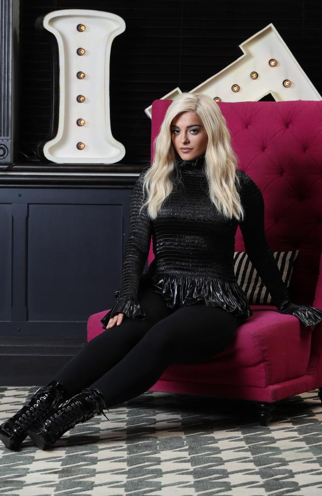 American songwriter Bebe Rexha pictured in Sydney at the QT Hotel. Picture: David Swift.