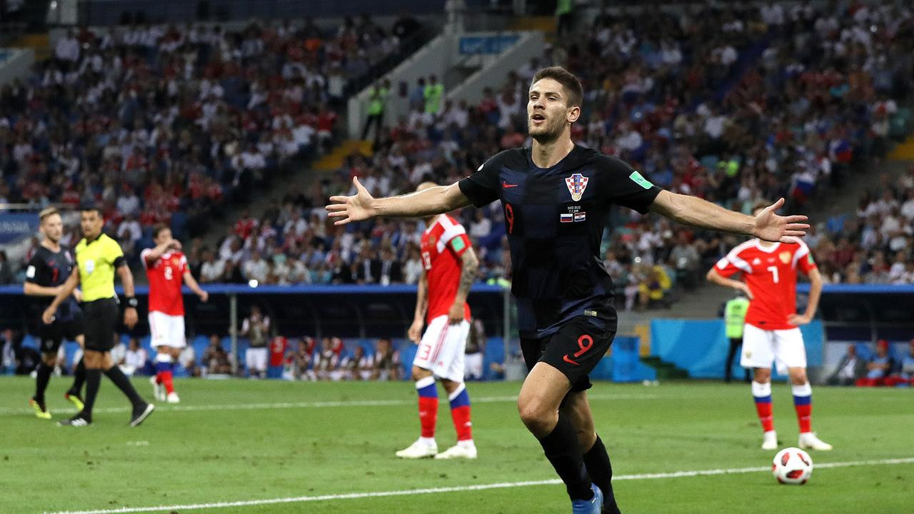 Andrej Kramaric of Croatia celebrates after scoring his team's first goal