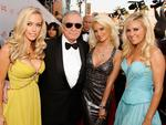 Publisher Hugh Hefner arrives with Girls Next Door Kendra Wilkinson, Holly Madison and Bridget Marquardt at the 36th AFI Life Achievement Award tribute to Warren Beatty held at the Kodak Theatre on June 11, 2008 in Hollywood, California. Picture: Getty