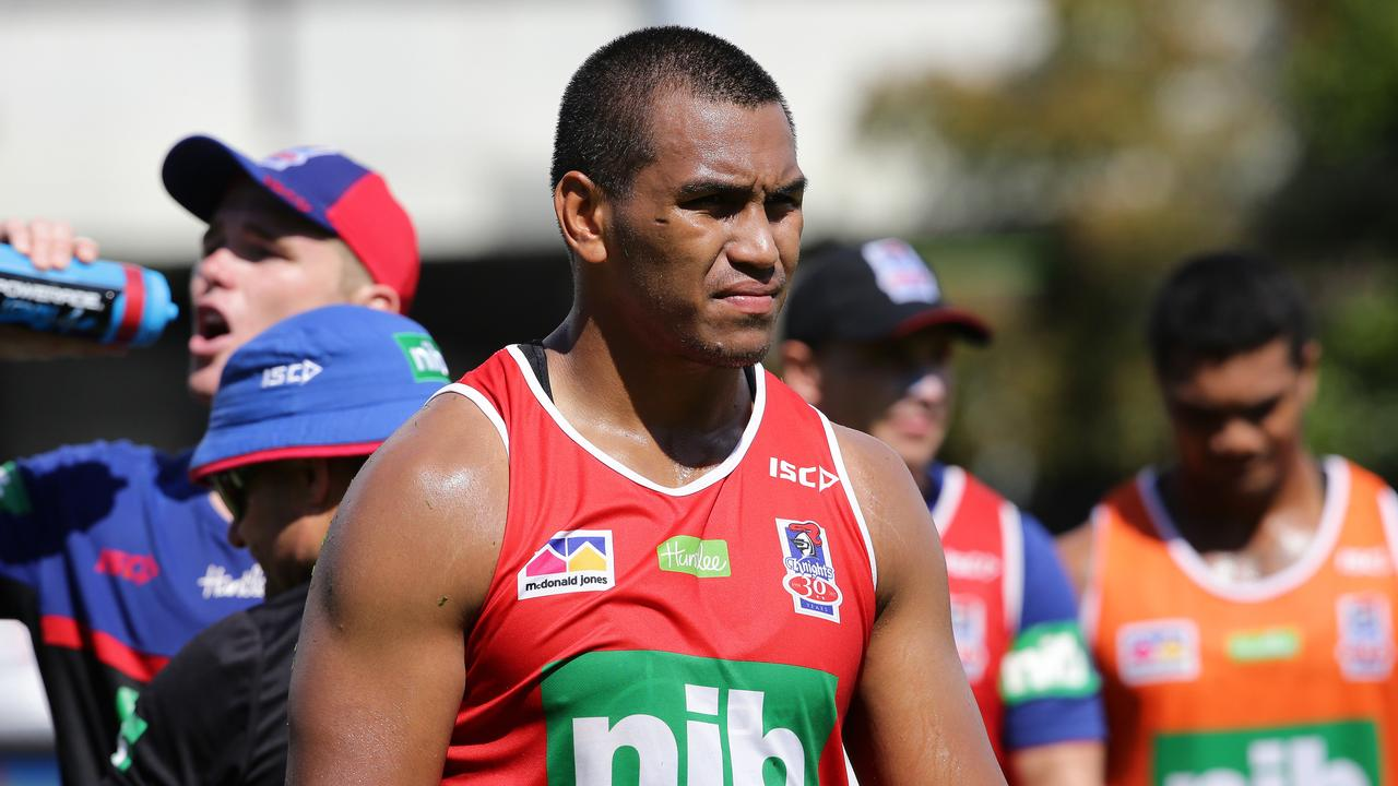 Jacob Saifiti at Knights training. Picture by Peter Lorimer.
