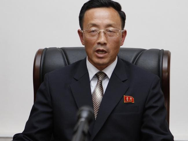 Hyon Kwang Il, director of the scientific research department of North Korea's National Aerospace Development Administration. Picture: AP