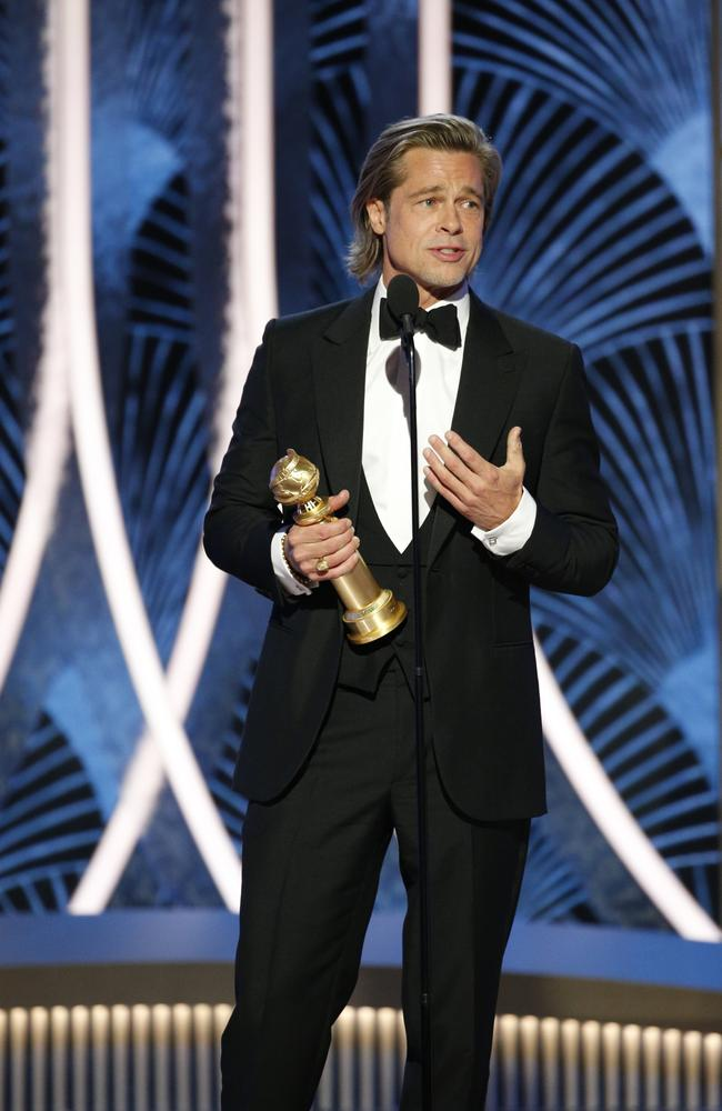 Brad Pitt won Best Supporting Actor for Once Upon a Time in Hollywood at the Golden Globes. Picture: AP