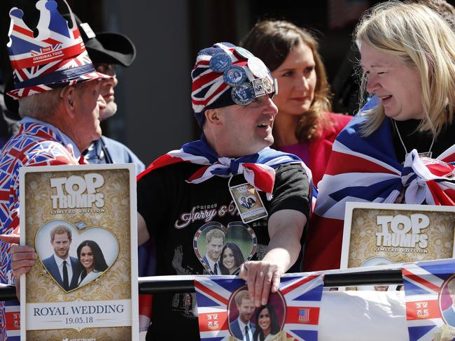Royal fans wait to watch a rehearsal of the royal wedding. Picture: AP