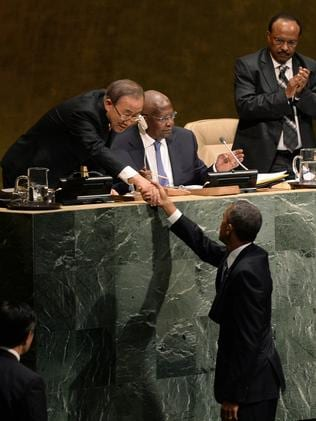 Across the great divide ... US President Barack Obama shakes hands with the UN Secretary-General Ban Ki-moon at the 69th session of the United Nations General Assembly. Source: AFP