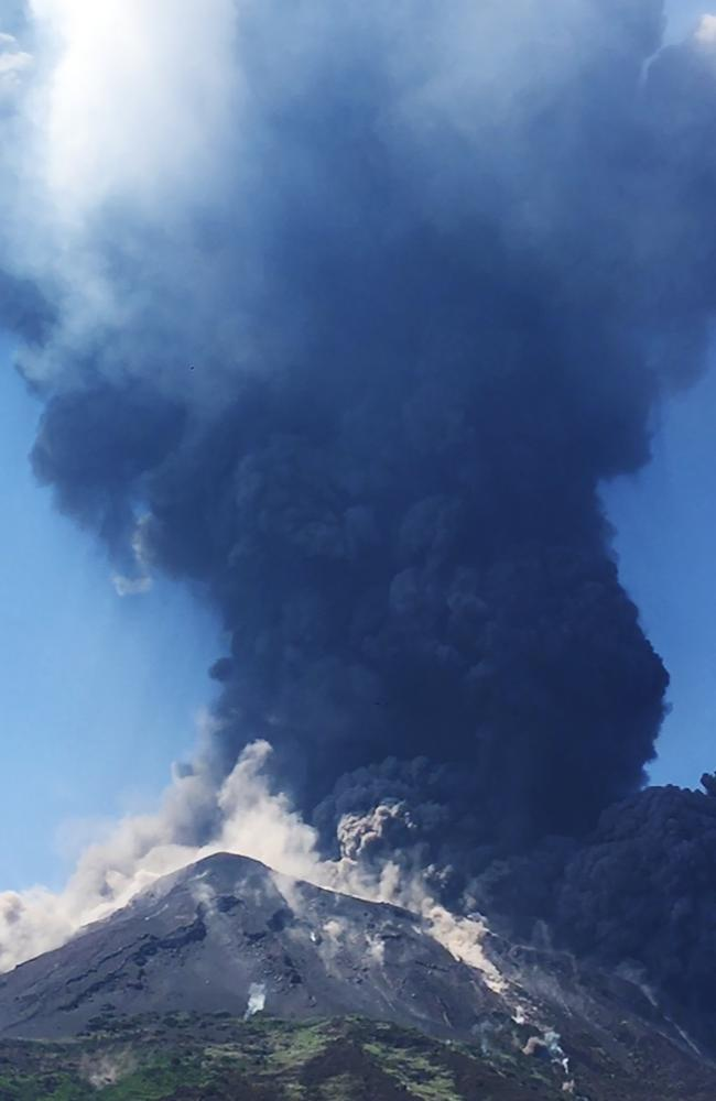 Smoke billows from the volcano on the Italian island of Stromboli on Wednesday, local time. Picture: Marta Carpinelli via AP