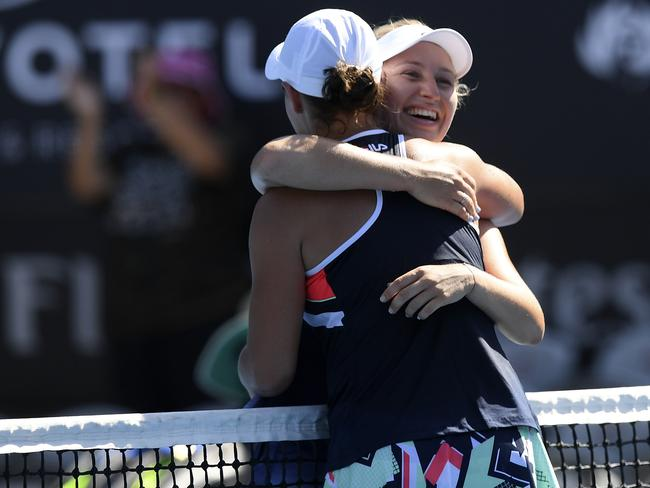 Barty (left) is congratulated by Daria Gavrilova after her win. Picture: AAP