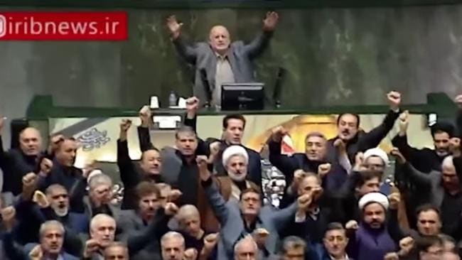 Iranian parliament opened Sunday with politicians chanting 'Death to America'.