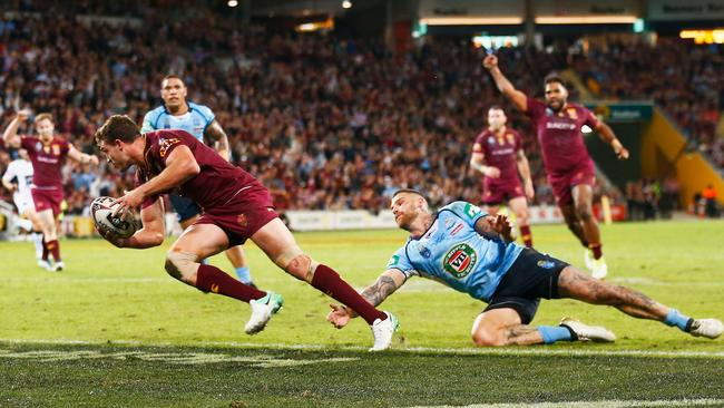 The only moment of joy as Corey Oates the Maroons' only try.