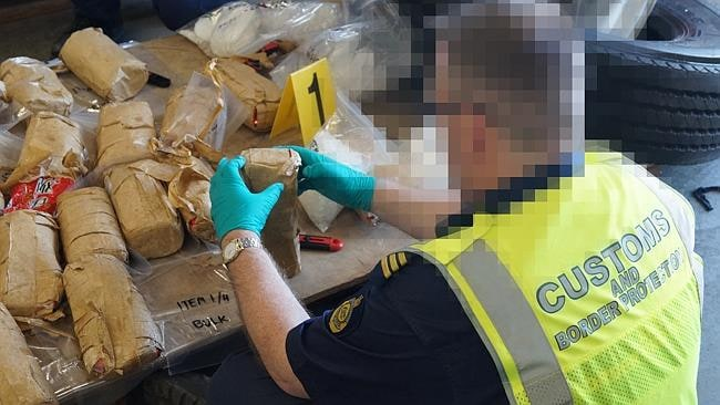 Methamphetamine seized in truck tyres in Melbourne in October: Picture: ACBPS.