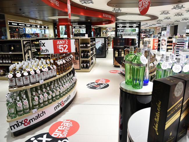 Discounts to be had in the liquor aisle of duty-free shopping.