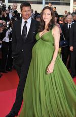 May 2008: Angelina Jolie looks radiant while pregnant with twins on the red carpet at the Cannes Film Festival. Picture: Pascal Le Segretain/Getty Images
