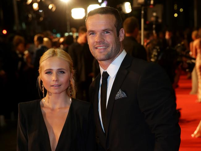 Tessa James and husband Nate Myles pictured at the Dally M Awards, before Tessa was diagnosed. Picture: Gregg Porteous