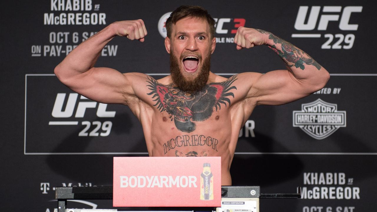 Conor McGregor of Ireland weighs in during the UFC 229 official weigh-in at the Park MGM,