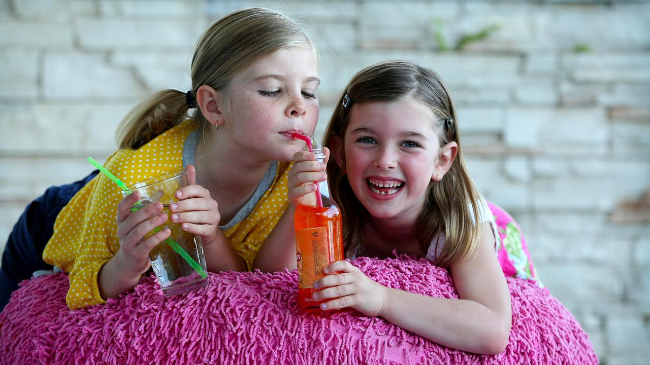 Millie and Mabel know soft drink is not a healthy choice and rarely drink it. Picture: Nathan Edwards