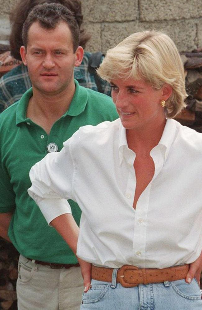 Her butler, Paul Burrell (green shirt), says the princess grew obsessed with the idea that Charles and Tiggy were having an affair. Source: ALAMY