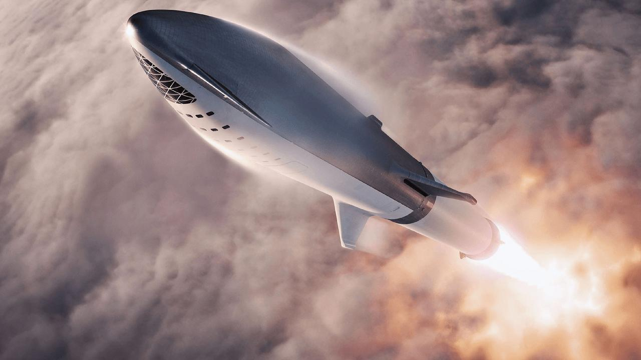 A drawing of what SpaceX's BFR could look like on its way to the moon. Picture: AFP/SpaceX