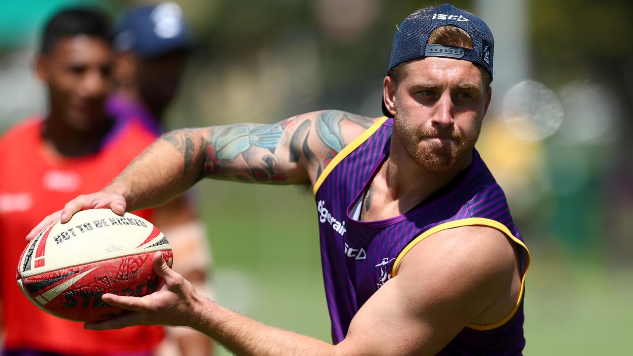 Cameron Munster of the Storm hard at work during training