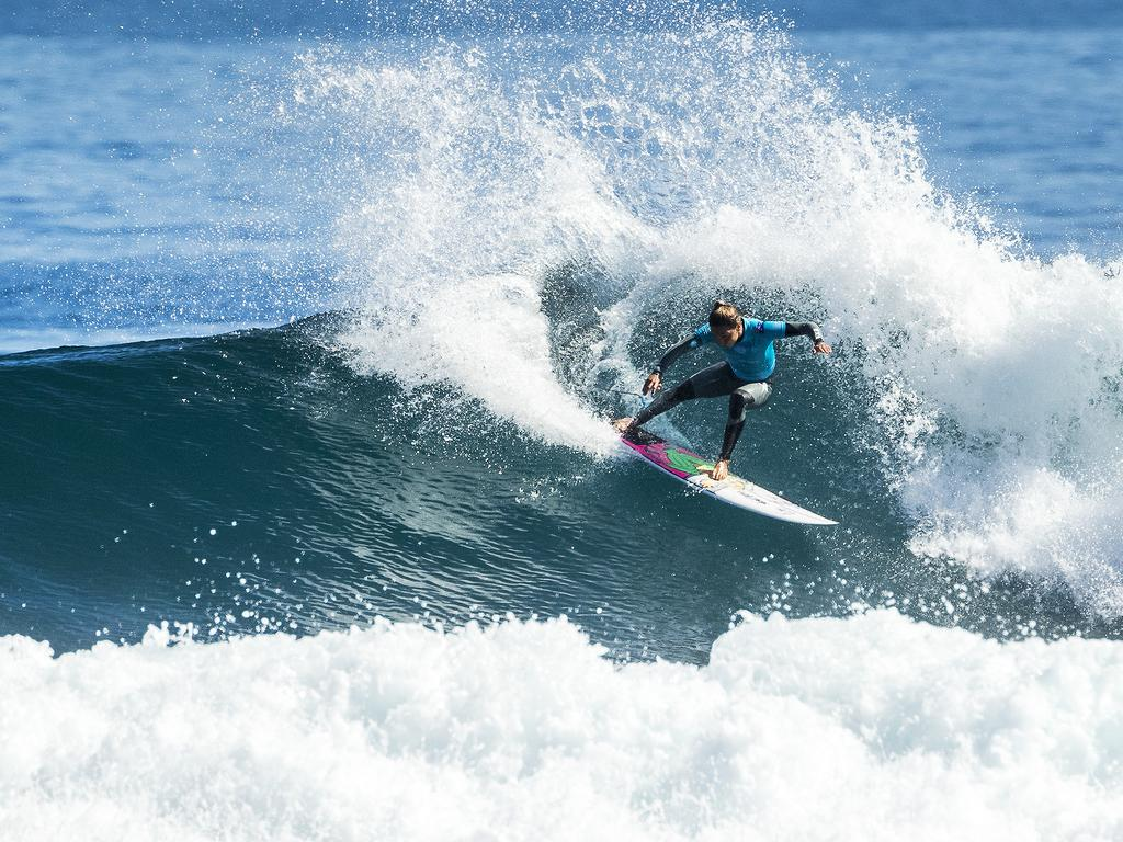 A supplied image obtained on Monday, April 16, 2018, of Australian Sally Fitzgibbons, during the 2018 Margaret River Pro at North Point, Margaret River. (AAP Image/Supplied by World Surf League, Kelly Cestari) NO ARCHIVING, EDITORIAL USE ONLY