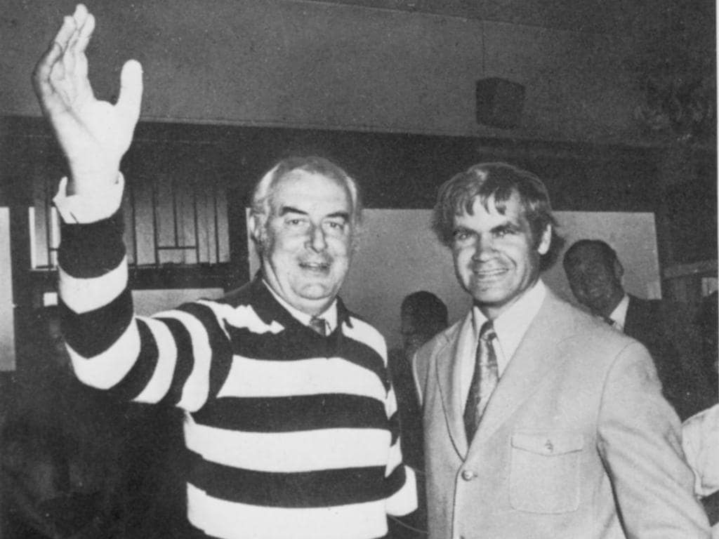 Prime Minister Gough Whitlam with Geelong football legend Polly Farmer in 1973.