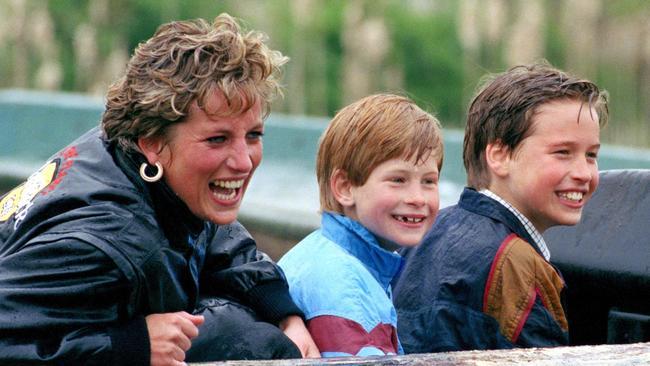 Diana Princess Of Wales, Prince William & Prince Harry visit the Thorpe Park amusement park. Photo: Getty.