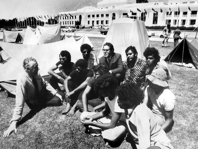 Sitting in ... then PM Gough Whitlam with Aboriginal activists outside Parliament House in Canberra, in the early 1970s.
