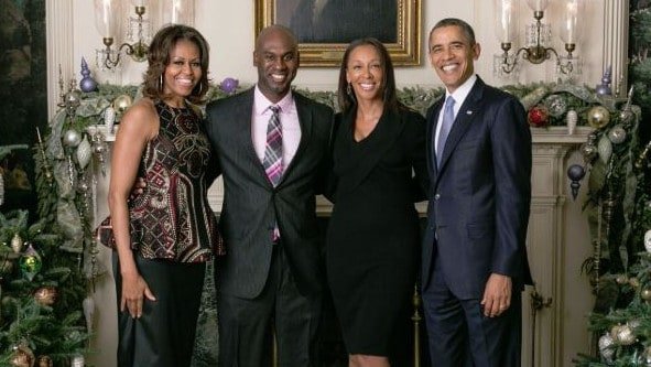 The Obamas, with two Dallas radio hosts, were fans of the media Christmas party. Picture: Supplied
