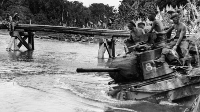 Australian soldiers during World War II on Bougainville in 1945 as the country was liberated from the Japanese.