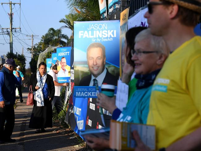 Voters in the electorate of Warringah, at Forrestville Public School, today. Picture: AAP/Dean Lewins