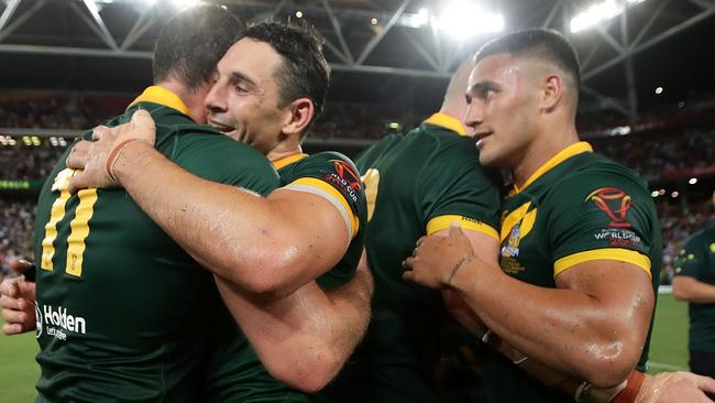 The Kangaroos celebrate winning the 2017 Rugby League World Cup.