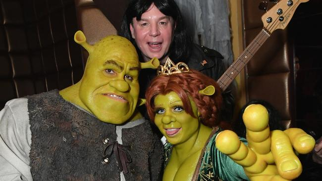 Heidi Klum and her boyfriend as Shrek and Fiona — and the actual star of the movie, Mike Myers. Photo: Mike Coppola/Getty Images for Heidi Klum